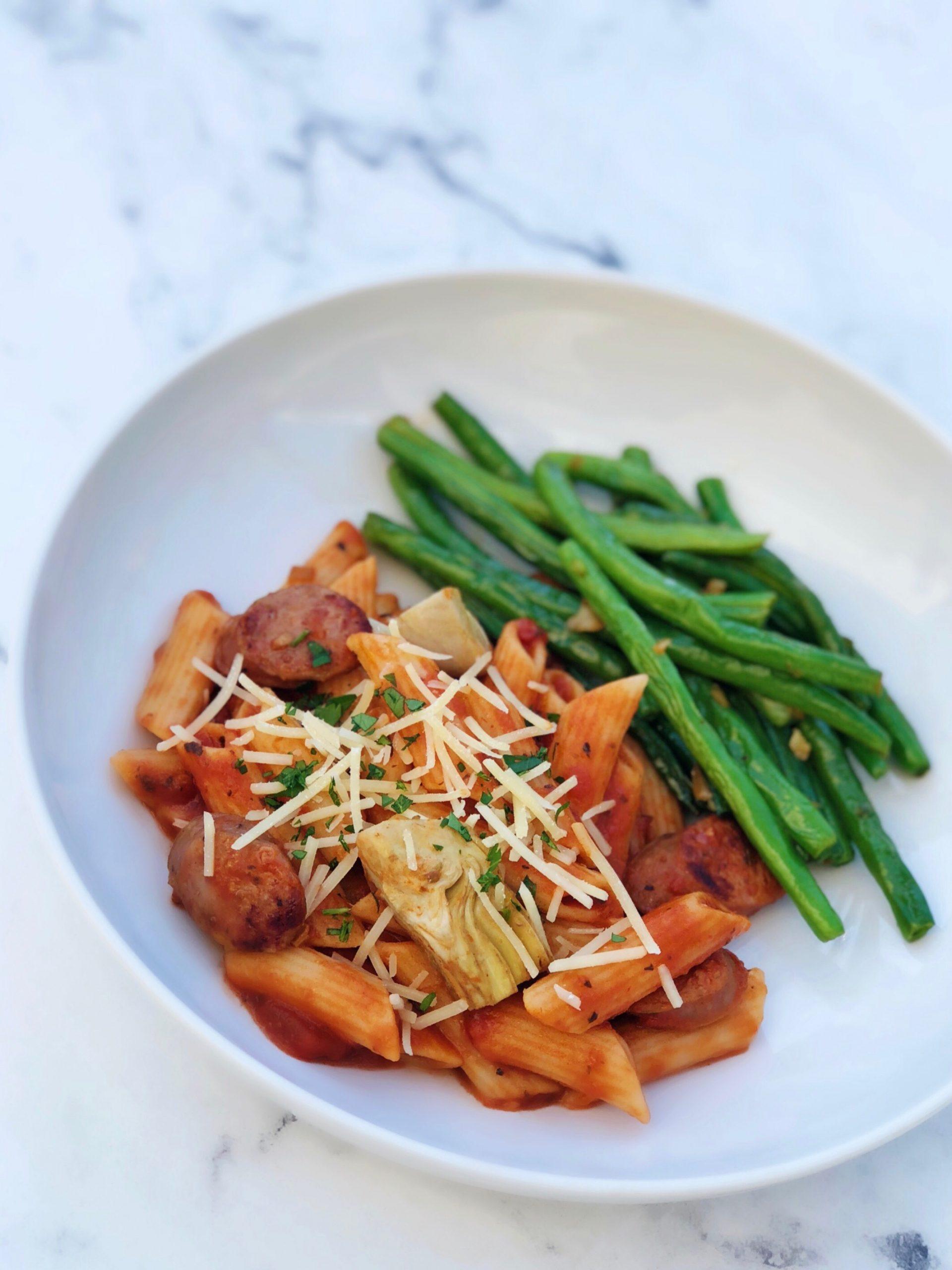 Sausage Pasta with Garlic Green Beans